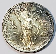 1992 Mo 1 ounce SILVER ONZA LIBERTAD MEXICO Toned Coin  image 1