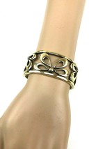 Monet Gold Metal Clasp Bracelet floral cutwork design - $12.00