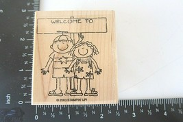 Rubber Stamp Welcome To Two Children Boy Girl Flip Flops Beach  Stampin Up 2003 - $7.99