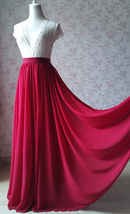 RED Bridesmaid Chiffon Maxi Skirt Plus Size Red Full Long Chiffon Wedding Skirt image 3