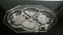 """Crystal 8-Sided Octagonal 4-Part 11"""" Relish Dish Tray Frosted Wild Rose ... - $12.86"""