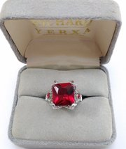Silver Ring Square Ruby Red Color Stone SZ 6 1/2 image 2