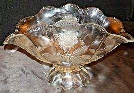 Heavy Etched Cut Glass Vase AA20-7015GW Vintage