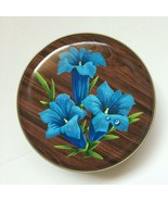 """Vintage Made in England Floral Metal Tin Canister Brown Blue Flowers 5.25"""" - $9.30"""
