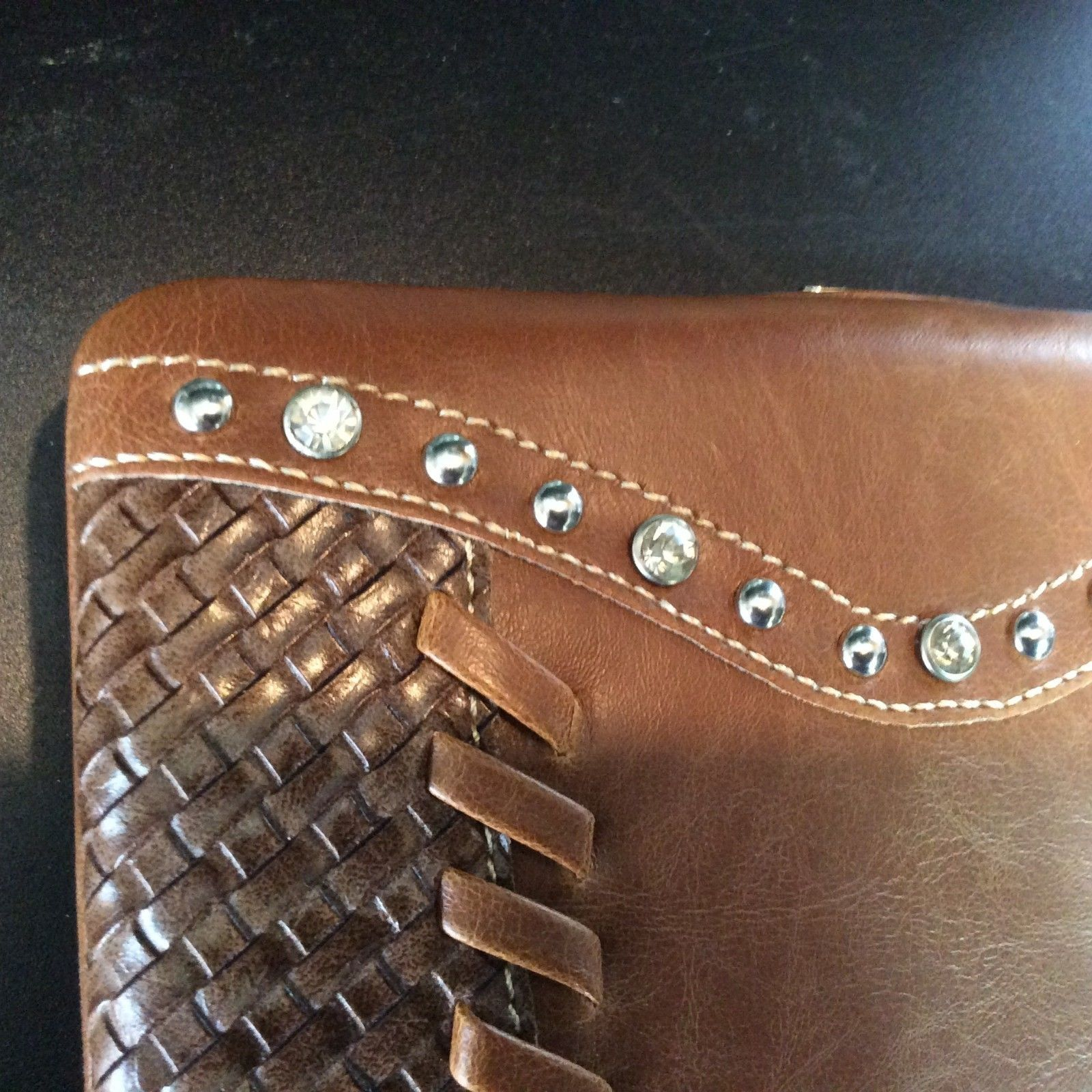 Montana West Clutch Wallet with Bling Basket Weave Snap Closure NWT W007 Brown