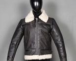 RAF Aviator Bomber Real Shearling Real Sheepskin Brown Leather Jacket - $256.76 CAD