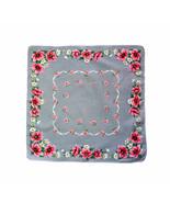 Italian Style Linen Handkerchief Pink White Flower Blossoms Green Leaves... - $9.90