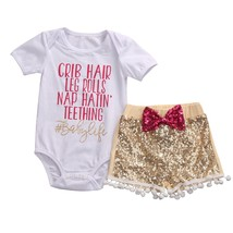 Fashion Baby Girls Set Clothing CRIB HAIR Letter Short Sleeve Rompers Ou... - $8.99