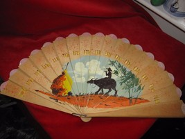 VINTAGE CARVED WOOD  FAN HAND PAINTED MAN ON A OXEN  - $9.46