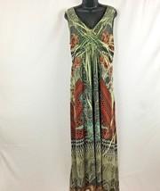 Style & Co Green Embellished Paisley Gypsy Sublimation Maxi Boho Dress S... - $49.95