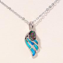 Blue Fire Opal Mytic Zircon Cubic Zirconia Silver Pendants Wholesale for Women J image 3