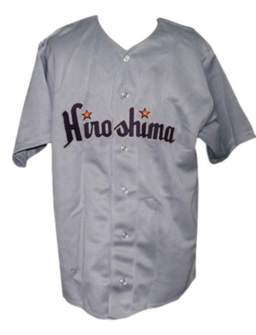 Hiroshima toyo carp retro baseball jersey 1953 button down grey   1
