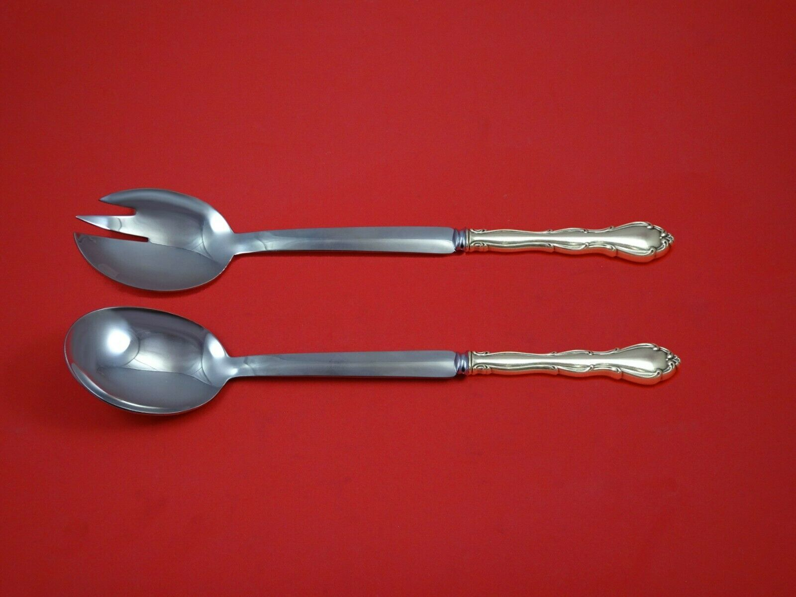 "Primary image for Fontana by Towle Sterling Silver Salad Serving Set Modern 10 1/2"" Custom Made"