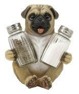 Hugging Pug Dog Decorative Glass Salt Pepper Shakers Holder Figurine #GFT02 - $46.17
