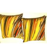 Set of 2 Contemporary Decorative Yellow White CB2 Streak Throw Pillow 16... - $49.49