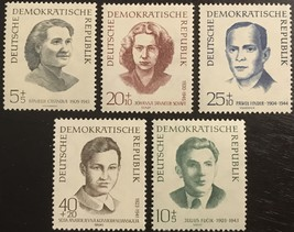 1962 Concentration Camp Victims Germany DDR Set of 5 Stamps Catalog B84-88 MNH