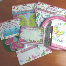 New Girl's Birthday Party Decorations Bundle Pink Blue Butterflies 7 Pie... - $19.75