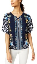 JM COLLECTION Floral Printed Flutter Sleeve Lace Up Keyhole Blouse NWT P/M - $11.53
