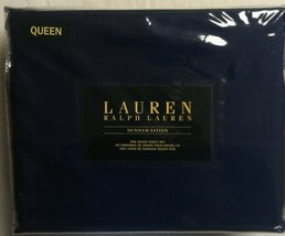 Ralph Lauren Dunham Cadet Blue Navy Sheet Set Queen - $90.00