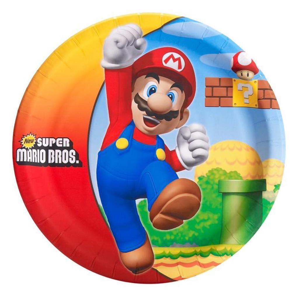 Super Mario Brothers Birthday Party Lunch Dinner Plates 8 Per Package New