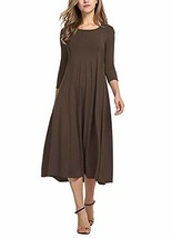 Ladybranch Women's 3/4 Sleeves Solid Color Casual Long Dress A-Line Loos... - $27.56