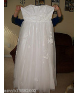 David's Bridal Strapless Tulle Ball Gown w/Floral Detail Size 14 Women's NWOT - $243.00