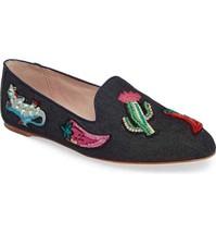 Kate Spade Saville Embroidered Denim Embellished Loafer Flat Shoes New $228 - $79.99