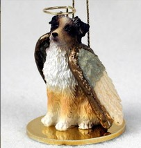 AUSSIE AUSTRALIAN SHEPHERD DOCKED BROWN ANGEL DOG CHRISTMAS ORNAMENT HOL... - $12.98