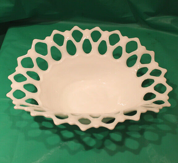Primary image for Vintage Westmoreland Milk Glass Oval Bowl with Doric Lace Open Border