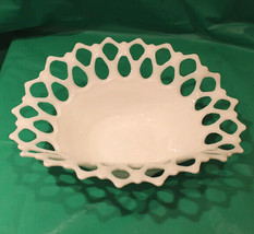Vintage Westmoreland Milk Glass Oval Bowl with Doric Lace Open Border - $25.00