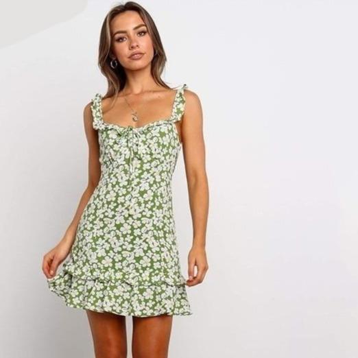 Yojoceli floral print ruffle dress women spring summer beachwear dress mini dress