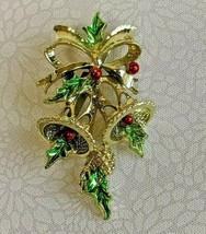 "Vintage Gerrys Jingle Bells Holly Spray Gold Tone Christmas Brooch Pin 2"" - $9.99"