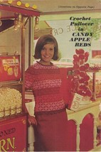 Crochet Pullover in Candy Apple Reds Vintage Single Pattern Ladies Fashion - $3.46