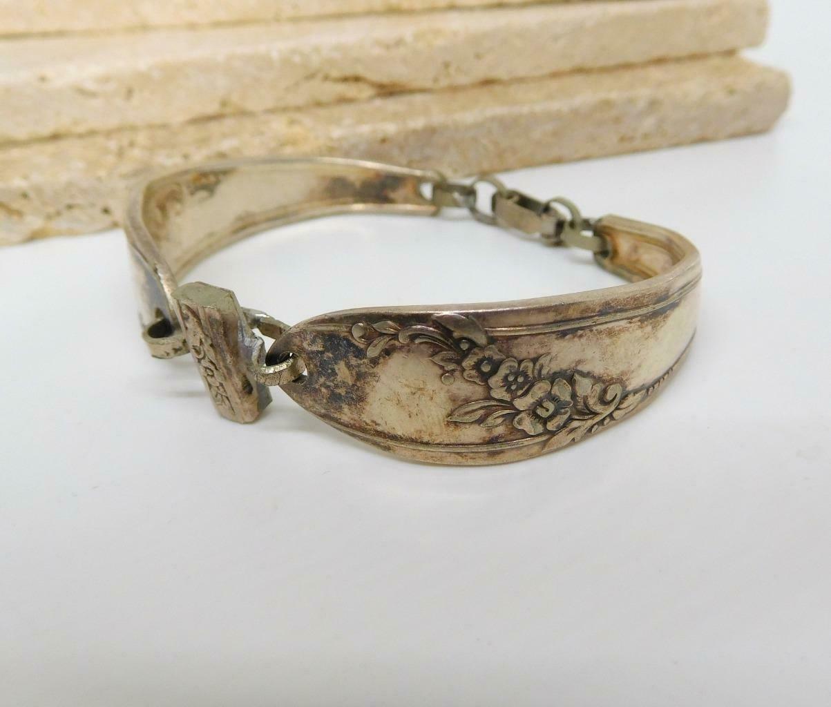 Vintage Silver Plated Victorian Flower Design Spoon Bracelet DD13 image 3