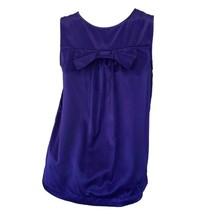 TopShop Womens Dark Purple Satin Crew Neck Sleeveless Bow Casual Tank To... - $12.87
