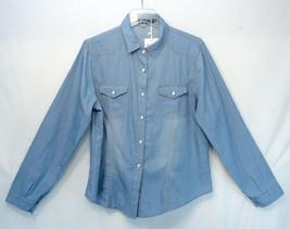 Women's Long Sleeve Denim Shirt Button Down Classic Blue Western Yeokou L - $14.99