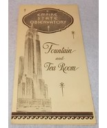 Empire State Observatory Fountain and Tea Room Menu Coffee 10 cents ca 1... - $9.95