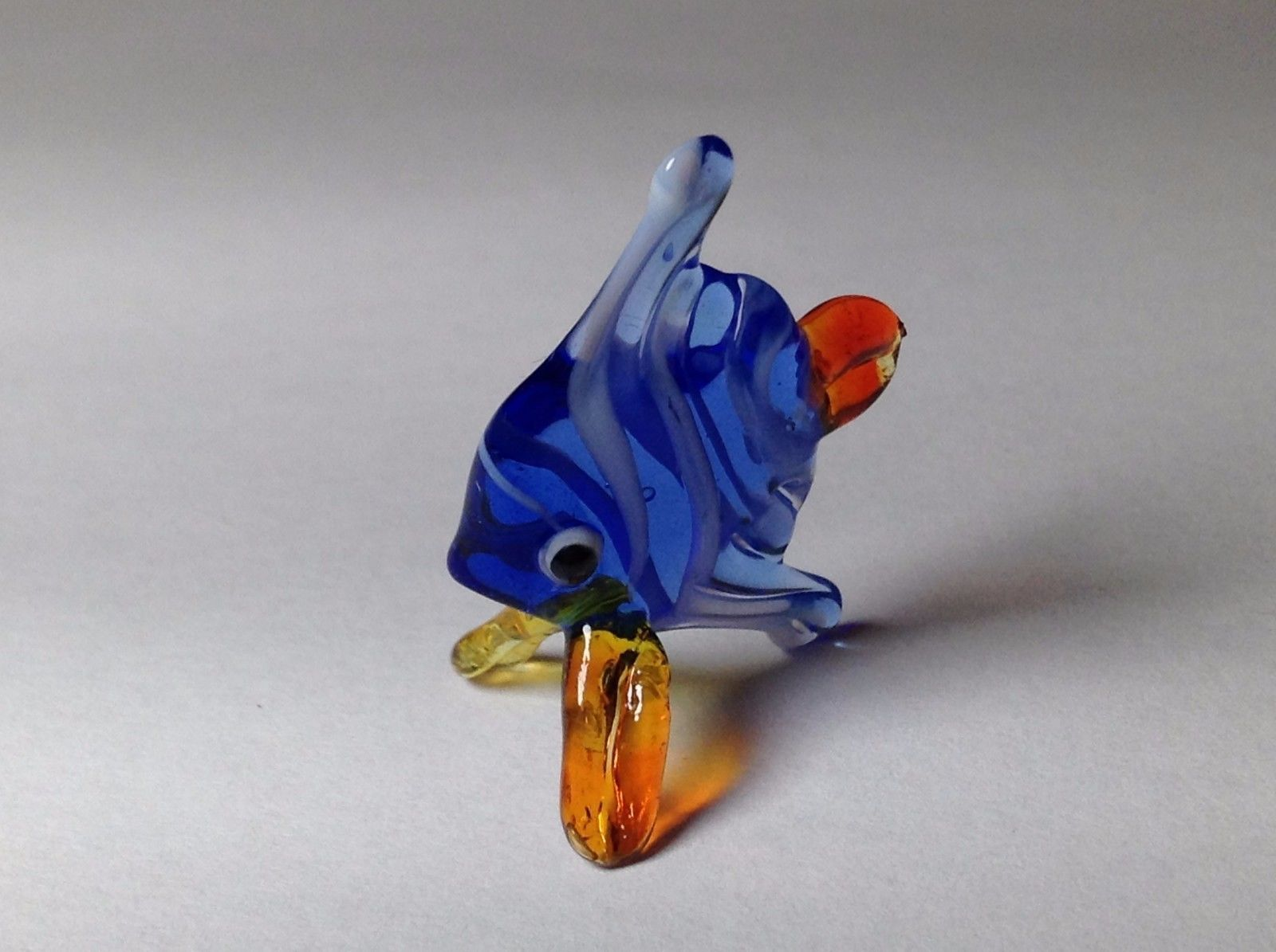 Miniature Glass Blue Striped Tropical Angel Fish Handmade Glass Made USA