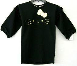 Hello Kitty Robe Fille Noir Taille 5 Fausse Fourrure Noeud or Broder Neu... - $27.70