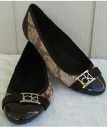 Calvin Klein Cap Toe Shoes Womens Sz 6 Patent Leather Brown Snake Ballet... - $20.77