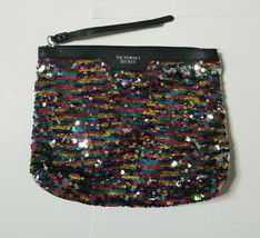 Victorias Secret Sequin Cosmetic Makeup Bag Multi-Color Bling Small Pouch EUC - $9.99