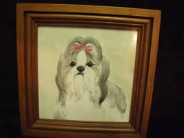 """HAND PAINTED LHASO APSO DOG ON 6"""" TILE SET IN WOOD FRAME, SIGNED ANITA - $24.75"""