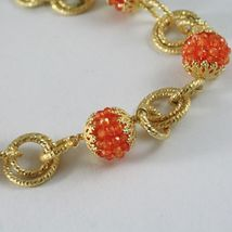 Silver Necklace 925 Yellow Gold Plated Circles Worked with Spheres Carnelian image 4