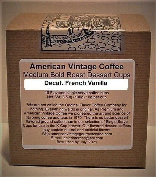 Primary image for Decaf.French Vanilla flavored Dessert Coffee 10 Medium Bold Roast K-Cups