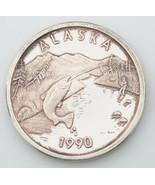 Alaska Casa de Moneda 1990 Salmón Deportes Pesca Medallón 1oz .999 Plata... - $68.38