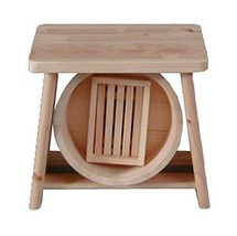 Japanese Oke Wood Bath Yuoke Chair Soup Box 3pic set Onsen Tools from Japan - $161.68