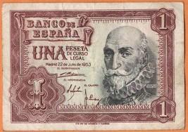 SPAIN 1953 Very Fine 1 Peseta Banknote Paper Money Bill P- 144 - $3.50