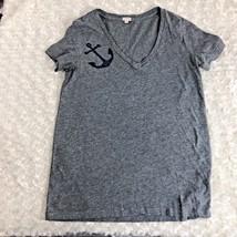 J Crew Womens Sz S Veck Tshirt Gray Shirt Top Tee Bling Blue Anchor Shor... - $13.60