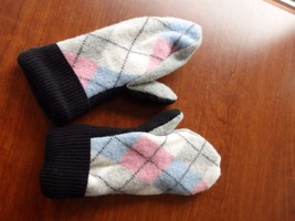 Argyle Wool Sweater mittens Handmade  one size fits most - $22.30
