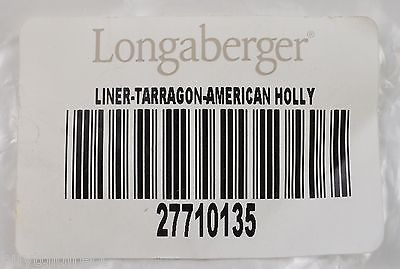 Longaberger Tarragon Basket Liner American Holly Fabric Home Decor Collectible